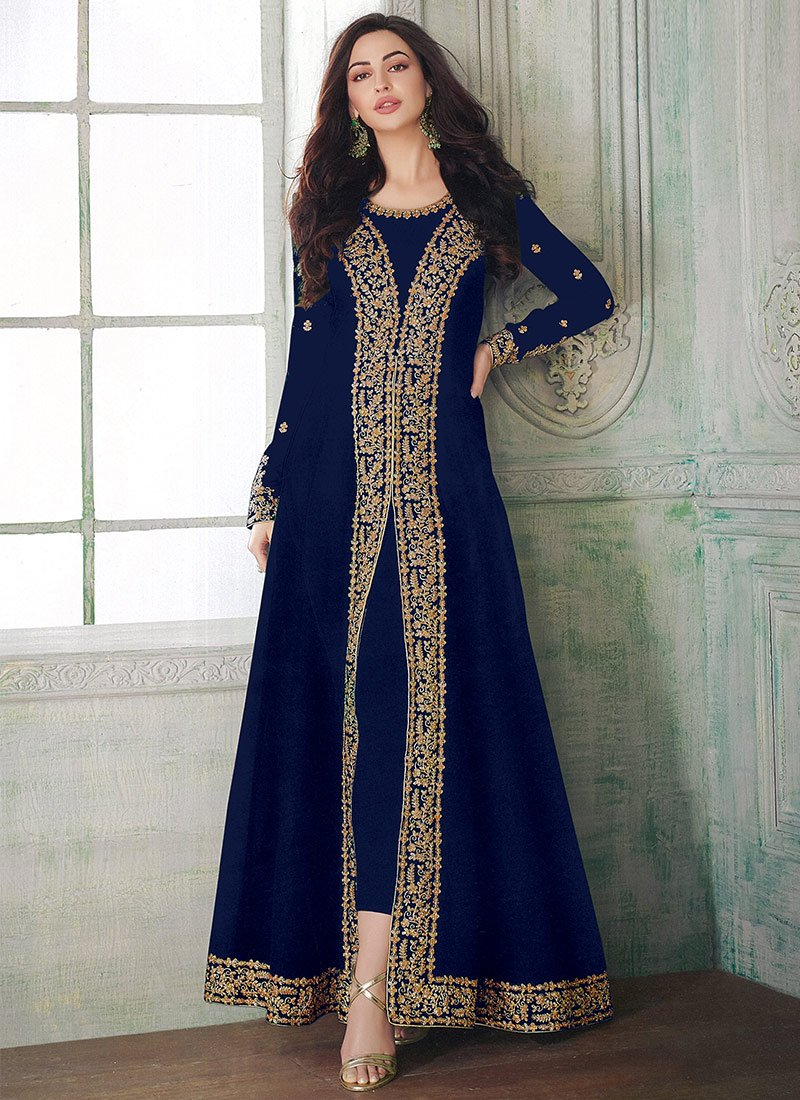 38c7634a38 Buy Navy Blue Abaya Style Anarkali Suit, Embroidered, anarkali suit ...