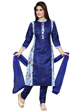 Navy Blue Abstract Printed Churidar Suit