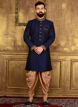 Navy Blue Art Benarasi Silk Indowestern Sherwani