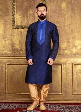Navy Blue Art Benarasi Silk Kurta Pyjama
