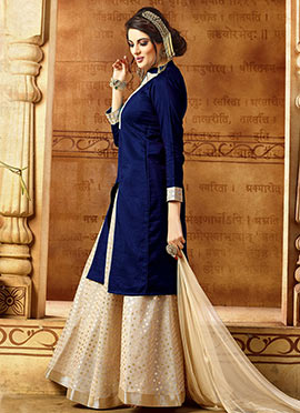 Navy Blue Art Benarasi Silk Long Choli Lehenga