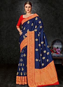 Navy Blue Art Benarasi Silk Saree