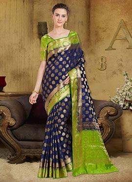 Navy Blue Art Benarasi Silk Saree