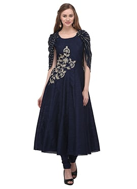 Navy Blue Art Bhagalpuri Silk Anarkali Suit