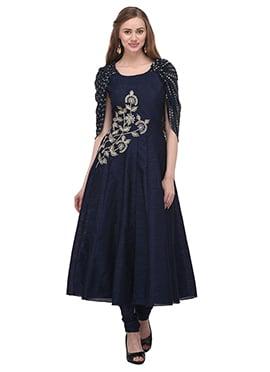 Navy Blue Art Bhagalpuri Silk Anarkali Suit