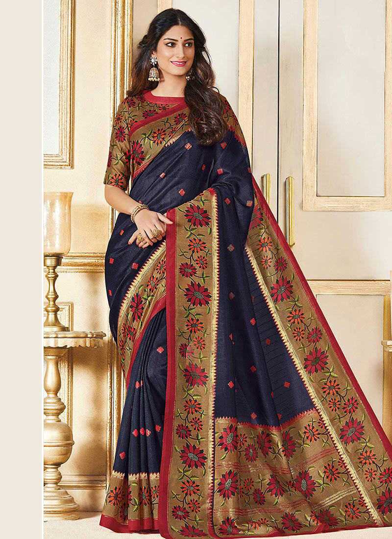 b572b3f70a Buy Navy Blue Art Bhagalpuri Silk Saree, Printed , Bhagalpuri, sari ...