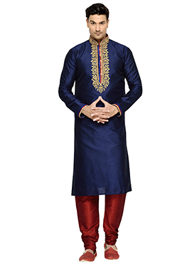 Navy Blue Art Dupion Silk Embroidered Kurta Pyjama