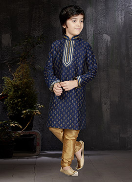 Navy Blue Art Dupion Silk Kids Kurta Pyjama