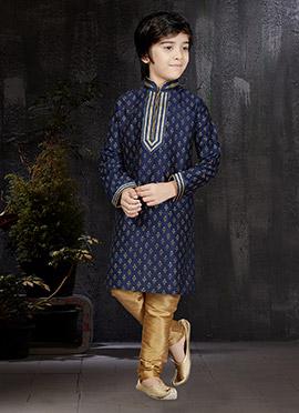 Navy Blue Art Dupion Silk Kids Kurta Pyjama
