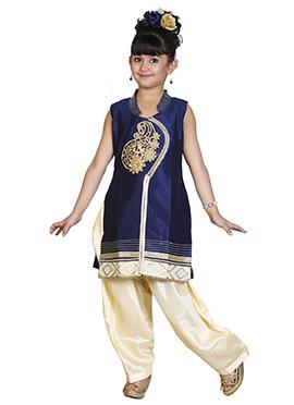 Navy Blue Art Dupion Silk Kids Salwar Kameez