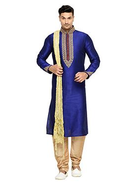 Navy Blue Art Dupion Silk Kurta Pyjama
