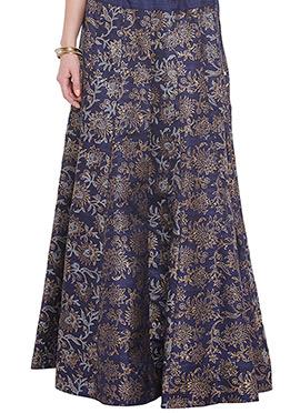 Navy Blue Art Dupion Silk Skirt