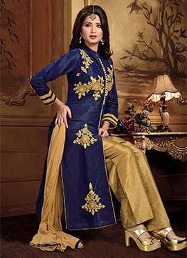 Navy Blue Art Dupion Silk Straight Pant Suit