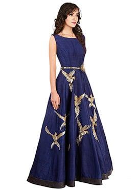 Navy Blue Art Raw Silk Anarkali Gown