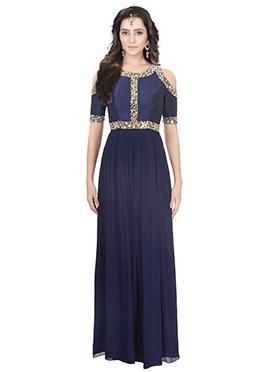 Navy Blue Art Raw Silk Cold Shoulder Anarkali Gown