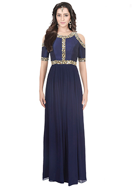 Navy Blue Art Raw Silk Cold Shoulder Anarkali Gown