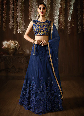 Navy Blue Art Silk A Line Lehenga Choli