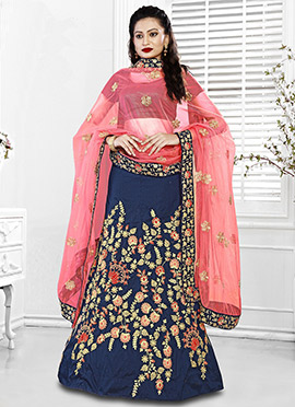 Navy Blue Art Silk A Line Lehenga
