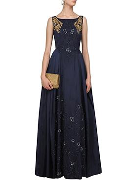 Navy Blue Art Silk Anarkali Gown