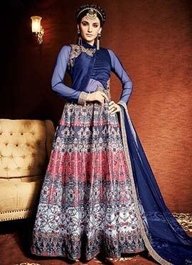 Navy Blue Art Silk Anarkali Suit