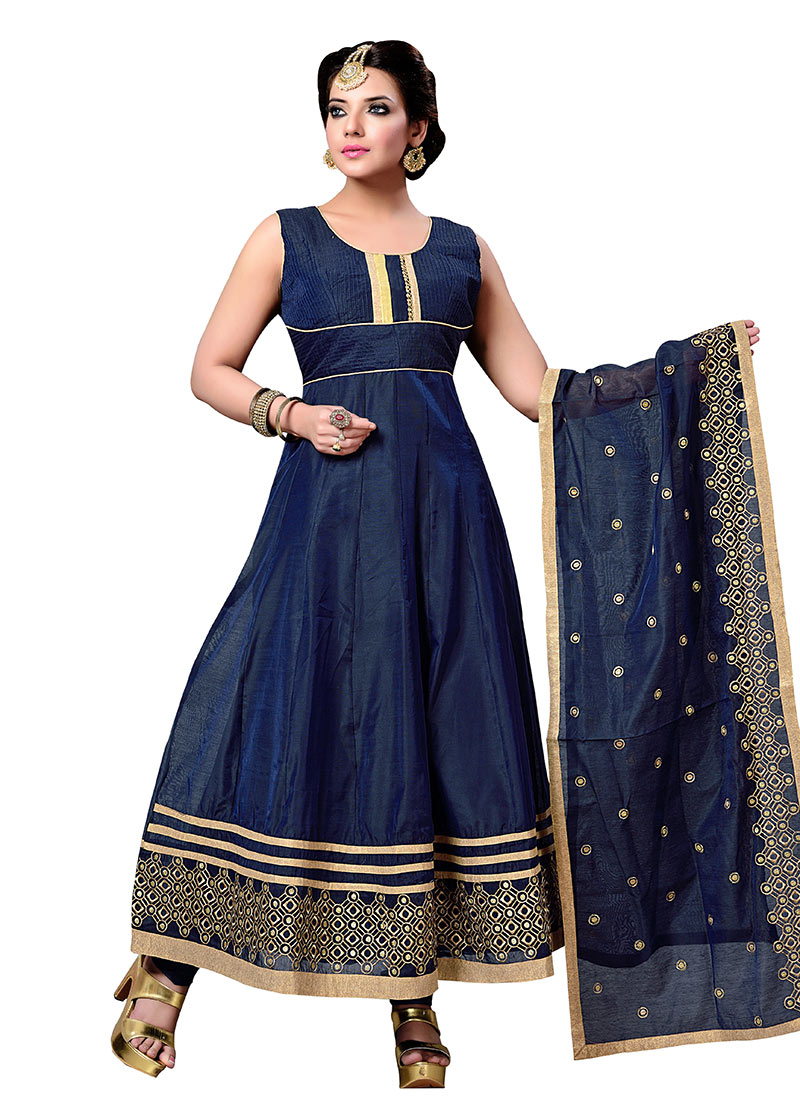 Buy Navy Blue Art Silk Anarkali Suit, anarkali-suit Online ...