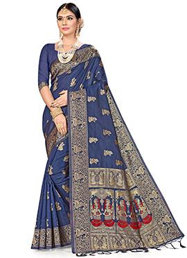 Navy Blue Art Silk Benarasi Saree