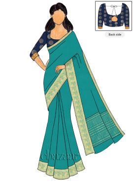 Navy Blue Art Silk Blouse N Chiffon Saree