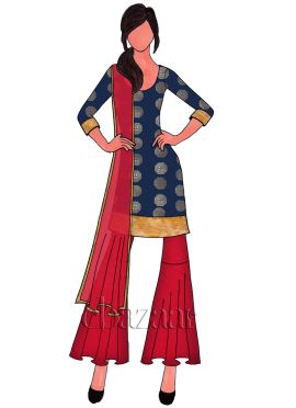 Navy Blue Art Silk Box Pleated Sharara Suit