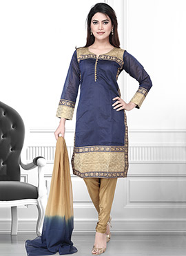 Navy Blue Art Silk Churidar Suit