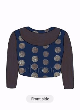 Navy Blue Art Silk Close Neck Blouse