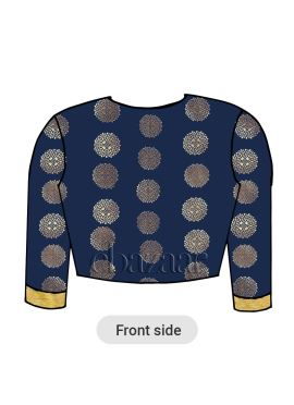 Navy Blue Art Silk Closed Neckline Blouse