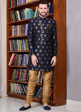 Navy Blue Art Silk Indowestern Sherwani