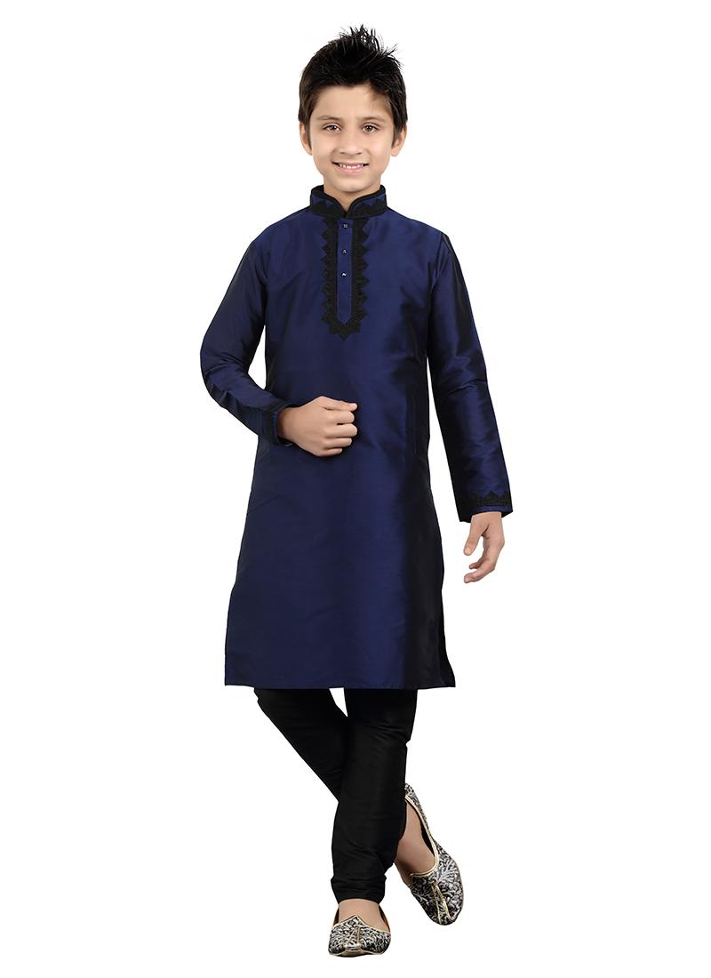 aa78a6ad0 Buy Navy Blue Art Silk Kids Kurta Pyjama, Embroidered, boys kurta ...