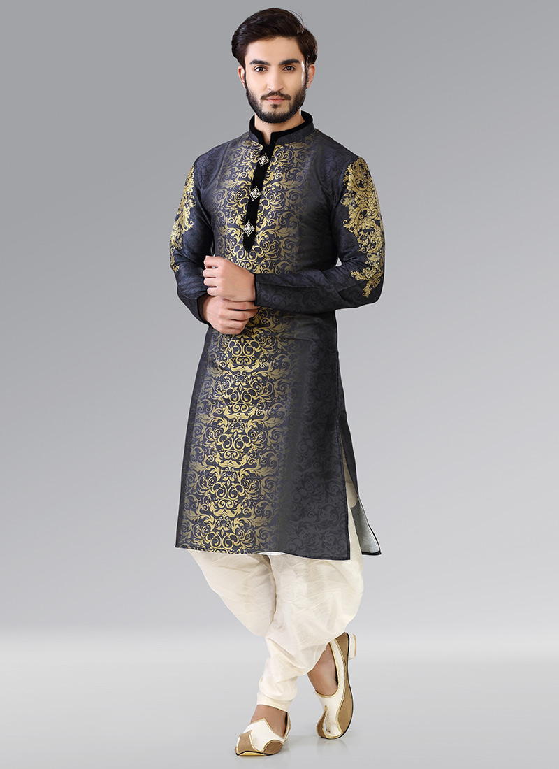 Buy Black N Golden Art Silk Kurta Pyjama Eid Kurta Pyjama Online