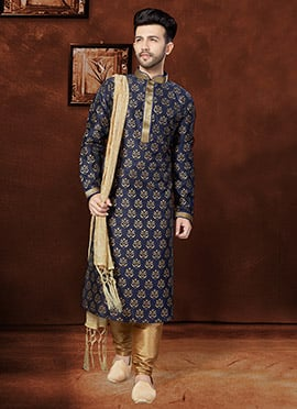 Navy Blue Art Silk Kurta Pyjama
