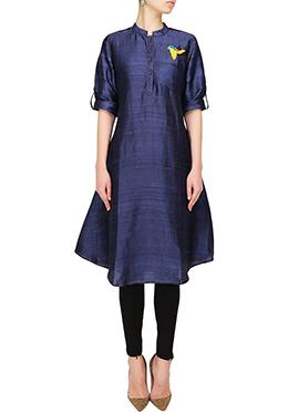 Navy Blue Art Silk Kurti