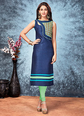Navy Blue Art Silk Kurti