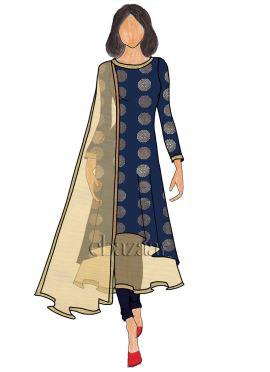 Navy Blue Art Silk Layered Anarkali Suit