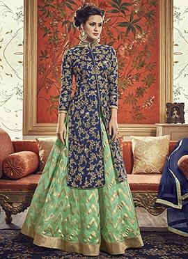 Navy Blue Art Silk Long Choli Umbrella Lehenga