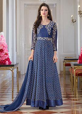 Blue Art Silk N Georgette Anarkali Suit