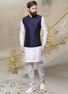 Navy Blue Art Silk Nehru Jacket