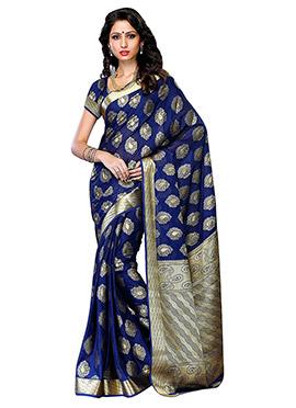 Navy Blue Art Silk Saree