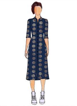 Navy Blue Art Silk Shirt Style Kurti