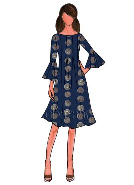 Navy Blue Art Silk Short Kurti