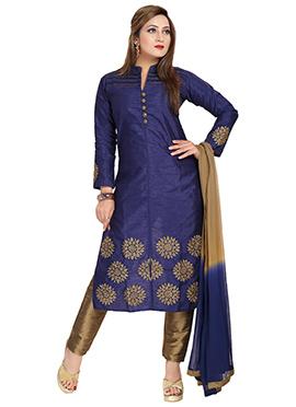 Navy Blue Art Silk Straight Pant Suit