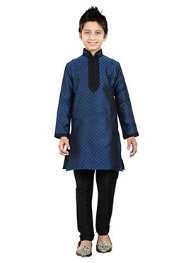 Navy Blue Art Silk Teens Kurta Pyjama