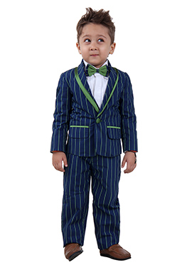 Navy Blue Arts Silk Kids Suit