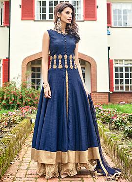 Navy Blue Benarasi Art Silk Palazzo Suit