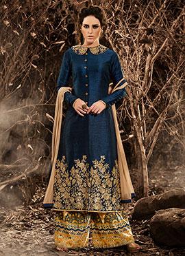 Navy Blue Bhagalpuri Art Silk Palazzo Suit