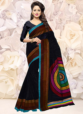 Navy Blue Bhagalpuri Art Silk Saree